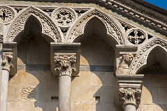 Detail of Carrara Cathedral XII century - Italy Stock Photo