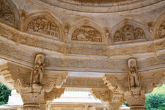 Detail of the carved dome at Royal cenotaphs in Jaipur, Rajastha Royalty Free Stock Image