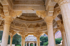 Detail of the carved dome at Royal cenotaphs in Jaipur, Rajastha Stock Photo