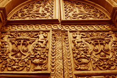 Detail of Carved Doors Stock Photography
