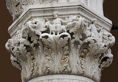 Detail of a carved marble column Stock Photo
