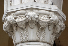 Detail of a carved marble column Royalty Free Stock Images