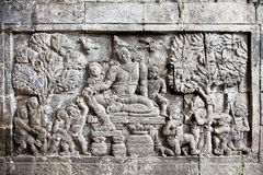 Detail of carved relief at Borobudur , Java, Indonesia. Royalty Free Stock Photography