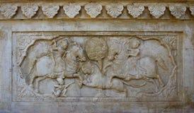 Detail of carved relief at Gatore Ki Chhatriyan in Jaipur, Rajas Royalty Free Stock Images
