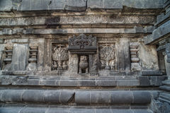 Detail of carved relief at Prambanan. Java, Indonesia. Prambanan or Candi Rara Jonggrang is a Hindu temple compound in Java, Indonesia, dedicated to the Trimurti stock photo