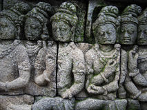 Detail of Carving at Borobudur Temple in Indonesia Royalty Free Stock Image