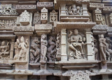 Detail of carving on a temple in Khajuraho Royalty Free Stock Photos