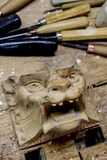 Detail from carving workshop Royalty Free Stock Photo