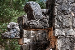 Detail carvings at Chichen Itza, Mexico royalty free stock photo