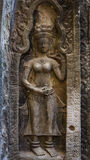 Detail Carvings of Devata in Ta Prohm Temple Stock Images
