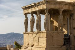 Detail of caryatids statues on the Parthenon on Acropolis Hill, Athens, Greece. Figures of the Caryatid Porch of the Erechtheion royalty free stock image