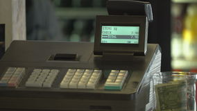 Detail of a cash register. Detail view of a cash register stock video footage