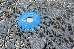 Detail of cast iron table Royalty Free Stock Photography