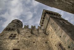 Detail of the castle of fenis in val d`aosta italy Royalty Free Stock Photography