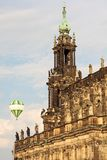Detail of a castle with hot air balloon Royalty Free Stock Image