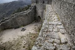 Detail of the castle wall of Sortelha village. Sabugal, Portugal Royalty Free Stock Image