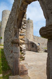 Detail of cathedral and castle and lighthouse, Castro Urdiales, Royalty Free Stock Photos