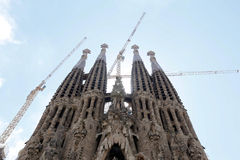 Detail of cathedral La Sagrada Familia in Barcelona. Royalty Free Stock Photography