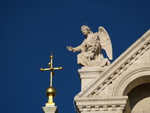 Detail, Cathedral from Pecs, Hungary. Stone angel on the roof of the Cathedral from Pecs, Hungary Stock Photos