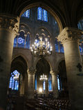 Detail of cathedral. Detail of a sumptuous cathedral with beautiful stained glass windows and luxurious lamps Royalty Free Stock Images