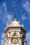 Detail of the Cathedral of Tupiza, Bolivia, blue sky Royalty Free Stock Image