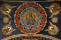 Ancient fresco detail from ceiling in Antim Monastery. Painted detail from the ceiling of the narthrex (outside porch) of the Orthodox Church in Antim Monastery Stock Photography
