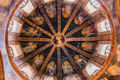 Detail of Ceiling in Chora Church. Dome at Chora Church in Istanbul with Virgin and Child Royalty Free Stock Photo