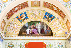 Detail of the ceiling painting in State Hermitage. SAINT PETERSBURG, Russia royalty free stock photos