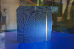 Detail of a cell for solar panels at Solarexpo 2014 in Milan, Italy Royalty Free Stock Photography