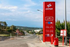 Detail of a CEPSA gas station on a small country road. Huesca, Spain - June 21, 2017 : detail of a CEPSA gas station on a small country road with its price stock images