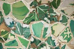 Detail of the ceramics from the Gaudi bench in par Stock Image