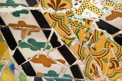 Detail of the ceramics from the Gaudi bench in par Royalty Free Stock Photos