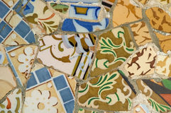 Detail of the ceramics from the Gaudi bench in par. Antonio Gaudi mosaic work on the main terrace at Park Guell (1914)- Barcelona - Spain Royalty Free Stock Photography