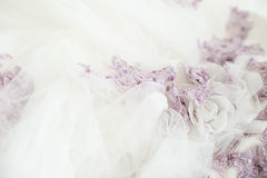 Detail of ceremony clothes of a bride Stock Images