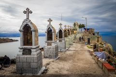 Detail of Cerro Calvario in Copacabana town, lake Titicaca in Bo royalty free stock image