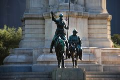 Detail of Cervantes monument. Represent Don Quixote and Sancho Panza, squire of Don Quixote in Madrid, Spain stock images