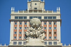 Detail of Cervantes monument on 'Plaza de espana' square, Madrid Stock Photos
