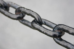 Detail of chain. Links made of iron Stock Photography