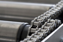 Detail of chain of roller conveyor Stock Photography