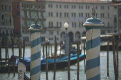 Detail of characteristic columns for the gondola mooring in Veni Royalty Free Stock Photo