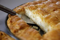 Detail of a Cheese pie. Detail of a traditional greek Cheese pie Stock Photos