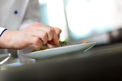 Detail of a Chef at work Stock Images