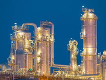 Detail of chemical Distillation towers. Chemical industry distillation towers detail at night. Petrochemical background Europoort Stock Image
