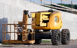Detail of cherry picker. In my town stock image