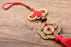 Detail of chinese lucky coins. Royalty Free Stock Photos