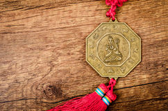 Detail of chinese lucky coins. Royalty Free Stock Photo