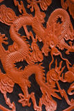 Detail of Chinese saucer wit red dragon Stock Image