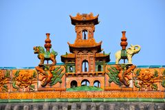Detail of a Chinese Temple at Pingyao Ancient City, China. Asia royalty free stock photos