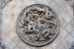 Detail of a Chinese Temple at Pingyao Ancient City, China royalty free stock photos