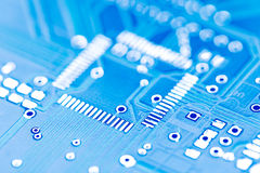 Detail Of Chip Base On Motherboard Blue Royalty Free Stock Image